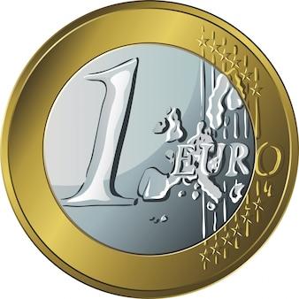 Dinero moneda de oro un euro