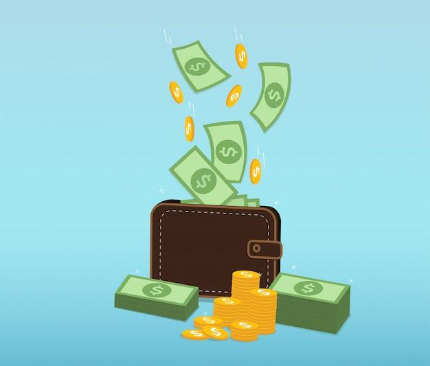 Dinero y monedas cayendo en una billetera de cuero.