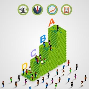 Dinero de la pirámide isométrica con personas. ilustración vectorial