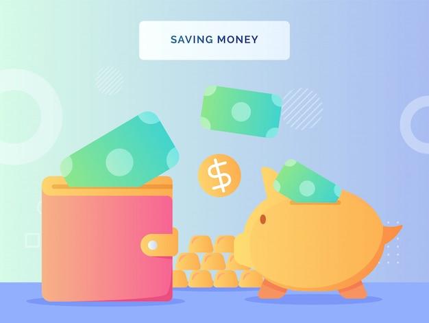 Dinero puesto en la billetera de la hucha ahorrando concepto de dinero con estilo plano