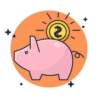Dinero seguro en piggy