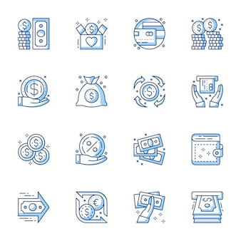 Dinero, servicio bancario conjunto de iconos de vector lineal.