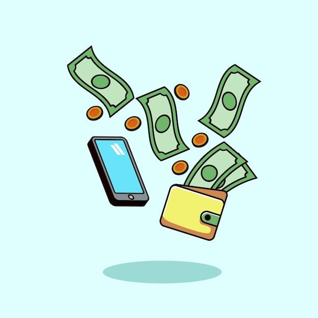 Dinero, smartphone, compras, estilo moderno