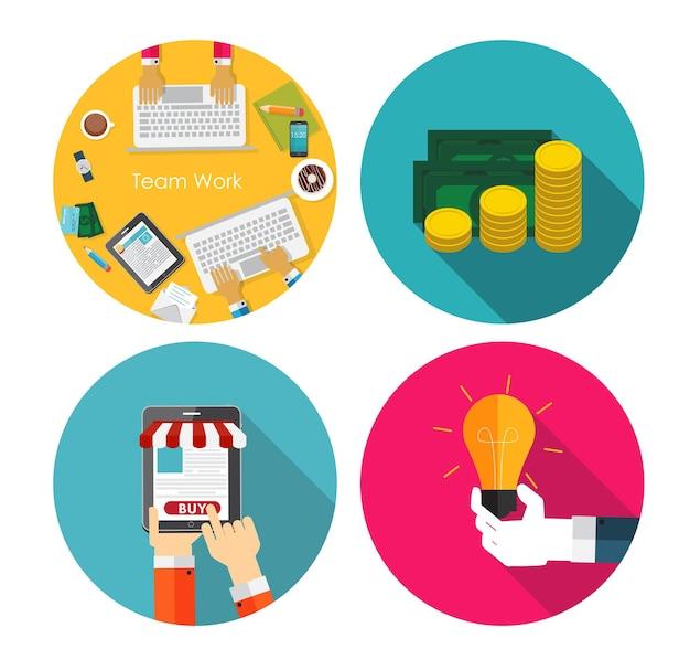 Dinero, trabajo en equipo, idea, ilustración de vector de concepto de diseño plano de compras en línea. eps10