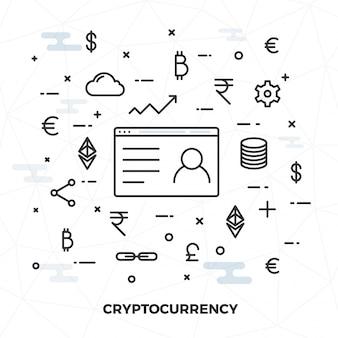 Dinero virtual, concepto de dinero de la criptografía o del internet, ilustración plana del estilo.