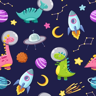 Dino en el espacio sin patrón. lindos personajes de dragones, dinosaurios que viajan a la galaxia con estrellas, planetas. fondo de dibujos animados para niños