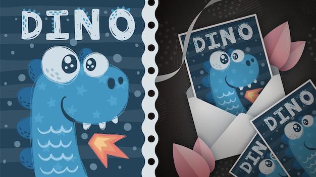 Dino fire - idea para tarjeta de felicitación