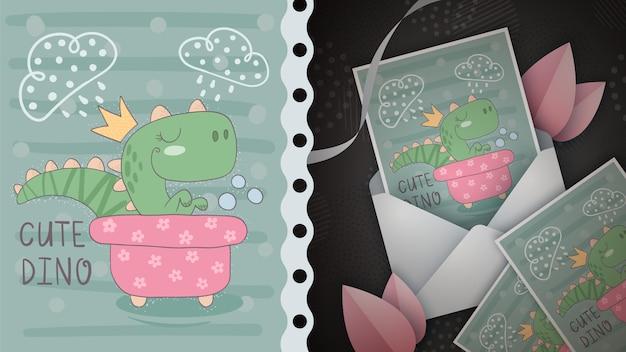 Dino se lava en la tarjeta de felicitación del baño.