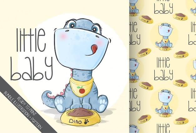 Dino lindo bebé animal con patrones sin fisuras
