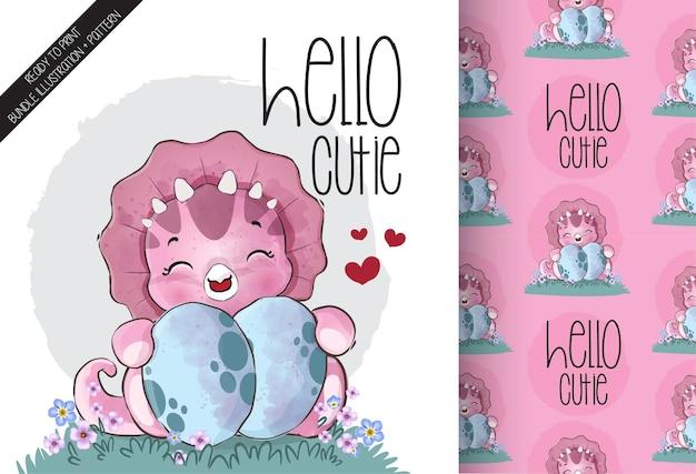 Dino lindo bebé con ilustración de huevos grandes y patrones sin fisuras