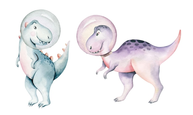 Dinosaurio acuarela aislado sobre un fondo blanco ilustración dibujada a mano cartoon baby showe