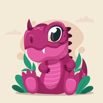 Dinosaurio bebé de dibujos animados detallada