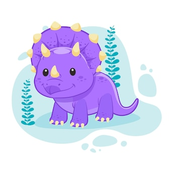 Dinosaurio bebé de dibujos animados ilustrado