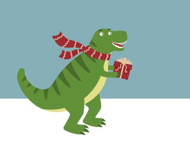 Dinosaurio en bufanda con regalo de navidad. vector
