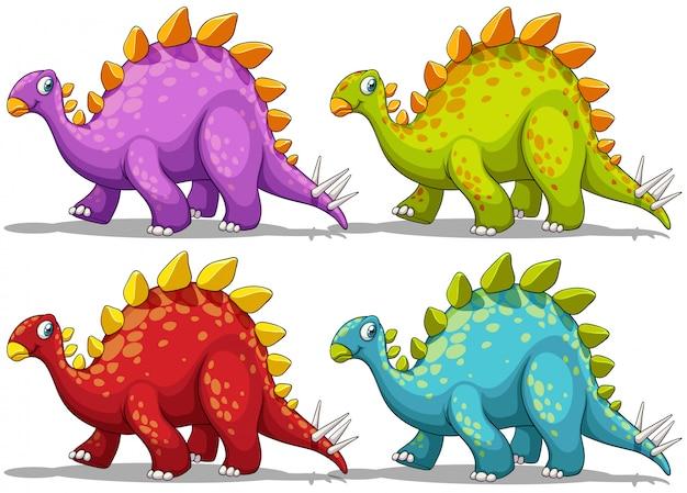 Dinosaurio en cuatro colores diferentes.