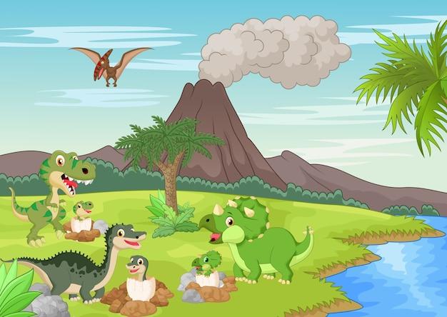 Dinosaurio de dibujos animados de anidación de tierra
