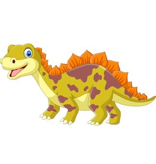 Dinosaurio de dibujos animados en blanco