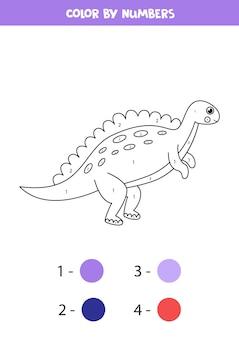 Dinosaurio de dibujos animados lindo de color por números. página para colorear para niños.