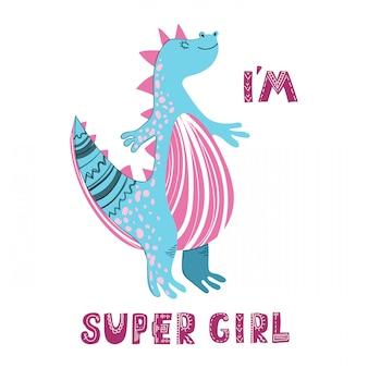 Dinosaurio de dibujos animados lindo con letras, tarjeta