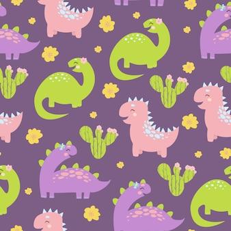 Dinosaurio de dibujos animados de patrones sin fisuras