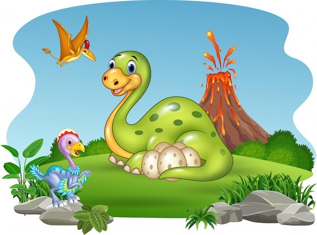 Dinosaurio de dibujos animados con sus huevos en la jungla