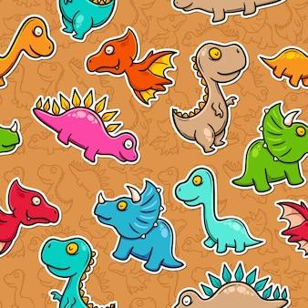 Dinosaurio doodle colorido de patrones sin fisuras