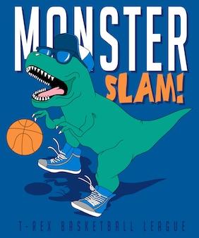 Dinosaurio fresco jugando al baloncesto