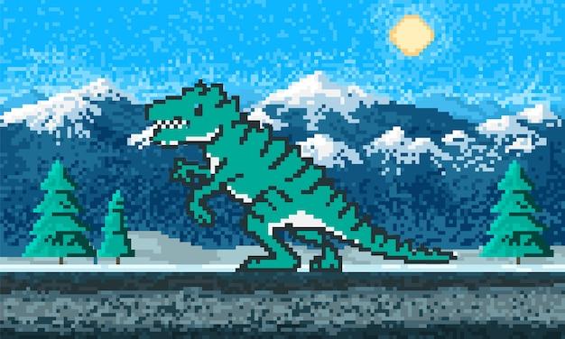Dinosaurio de fuego y paisaje de montaña.