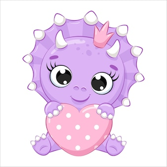 Dinosaurio lindo bebé con un corazón. ilustración vectorial de dibujos animados.