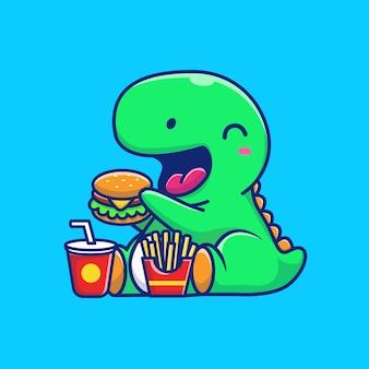 Dinosaurio lindo comiendo hamburguesa icono ilustración. dino mascota personaje de dibujos animados. concepto de icono animal aislado