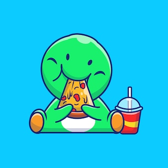 Dinosaurio lindo comiendo pizza icono ilustración. dino mascota personaje de dibujos animados. concepto de icono animal aislado