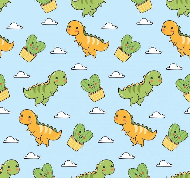 Dinosaurio lindo sin costuras