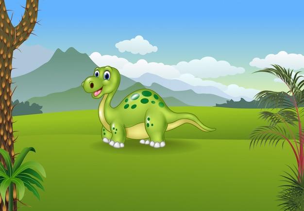 Dinosaurio lindo de dibujos animados