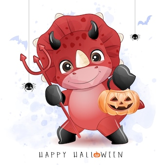 Dinosaurio lindo doodle para el día de halloween con ilustración de acuarela