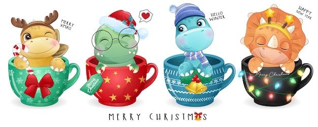 Dinosaurio lindo doodle para el día de navidad con ilustración de acuarela