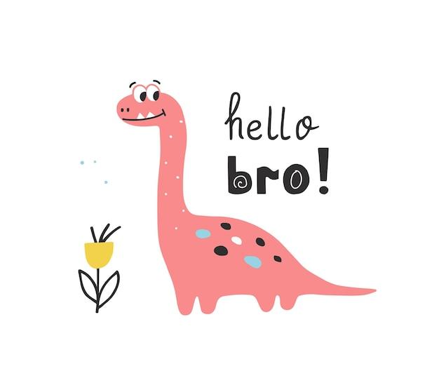 Dinosaurio lindo en estilo dibujado a mano con letras escritas a mano