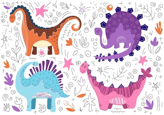 Dinosaurio lindo de la historieta en estilo escandinavo