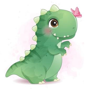 Dinosaurio lindo que juega con la ilustración de la mariposa