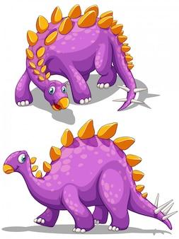 Dinosaurio morado con espiga cola.