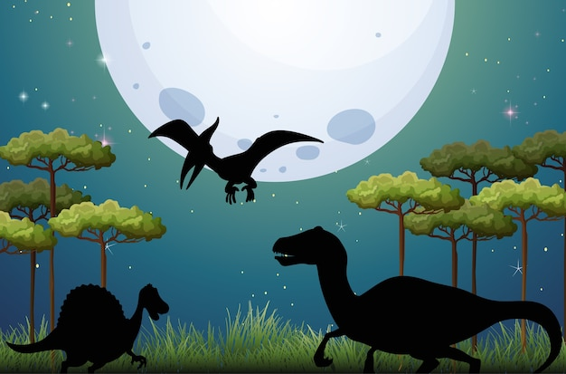 Dinosaurio en la naturaleza