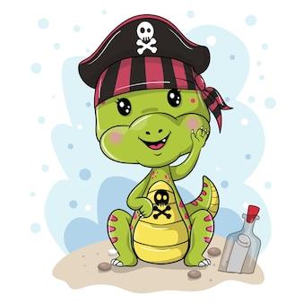 Dinosaurio pirata de dibujos animados lindo sobre un fondo blanco
