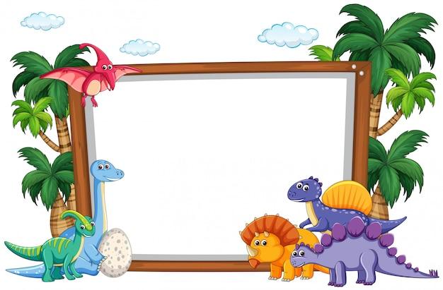 Dinosaurio en plantilla en blanco