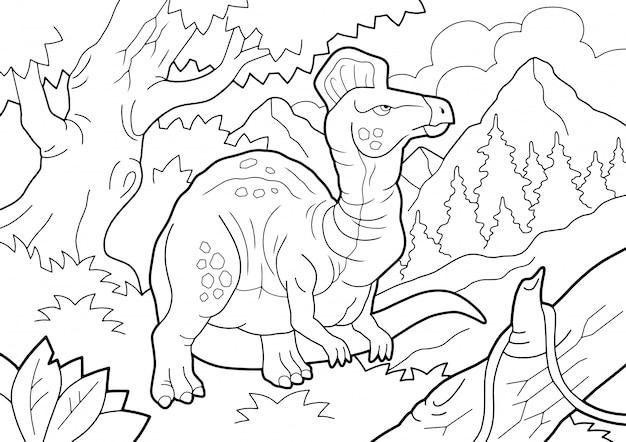 Dinosaurio prehistórico corythosaurus, libro para colorear, ilustración de contorno