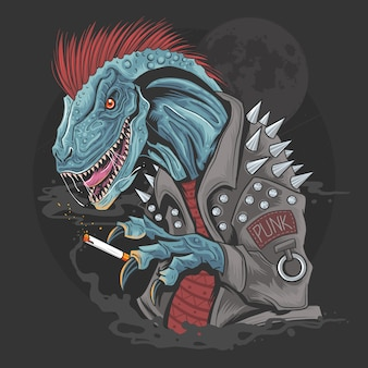 Dinosaurio punk raptor t-rex elemento