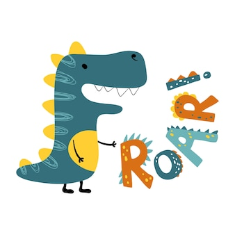 Dinosaurio rugido. cita de letras divertidas con icono de dino, ilustración escandinava dibujada a mano