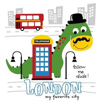 Dinosaurio, el, turista, en, vacaciones, divertido, animal, caricatura