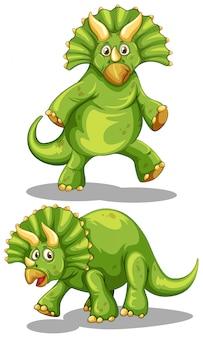 Dinosaurio verde con cuernos afilados.