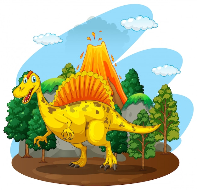 Dinosaurio viviendo en el bosque