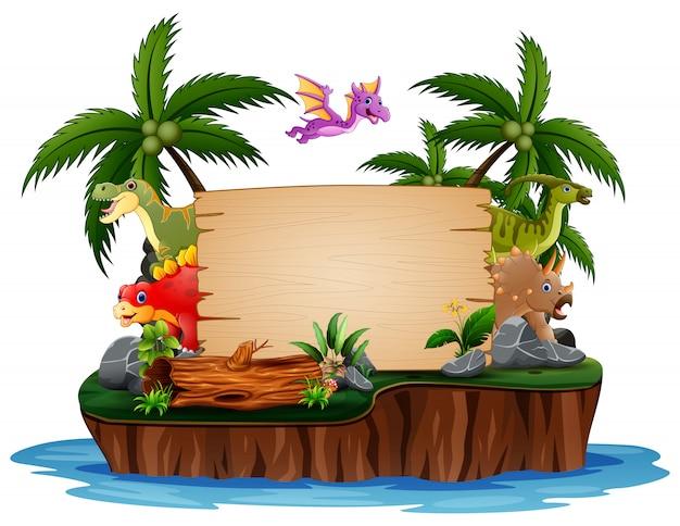 Dinosaurios con cartel de madera en la isla