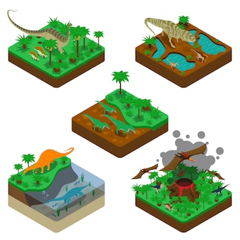 Dinosaurios composiciones isométricas